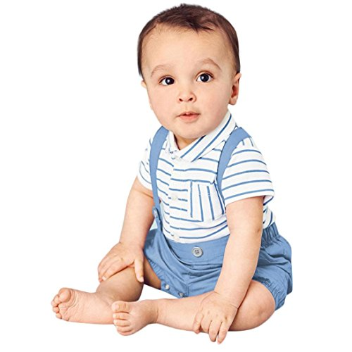 Säugling Baby Kurzarmhemd + Hosenträger Shorts Outfits Jungen Gentleman Bluse Gestreift T-Shirt Neugeborenen kleidung Foto-Shooting Kostüm (70, Weiß) (Fliegen Kostüm Ideen)