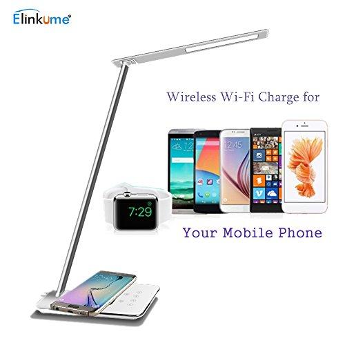 Elinkume 5W Lampe de Bureau Moderne Design 48*4014 PCS LED Lampe de Table avec Wi-Fi Chargeur de Téléphone Portable 5500K Lumière de Bureau Tactile Dimmable Blanc