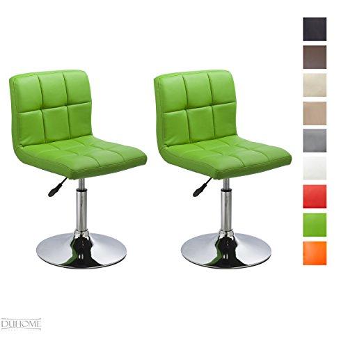 2er-Set-Moderner-Esszimmerstuhl-Grn-Kunstleder-Kchenstuhl-hhenverstellbar-drehbar-Stuhl-Farbauswahl-TYP-451N