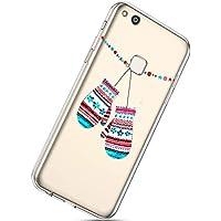 Handytasche Huawei P10 Lite Weihnachten Handyhülle Durchsichtig Schutzhülle Silikon Dünn Case Transparent Handyhüllen Kirstall Clear Case Etui TPU Bumper Schale,Handschuhe