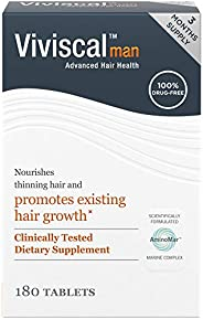 Viviscal Man Maximum Strength Hair Nourishment System, 3 month supply, 180 Tablets
