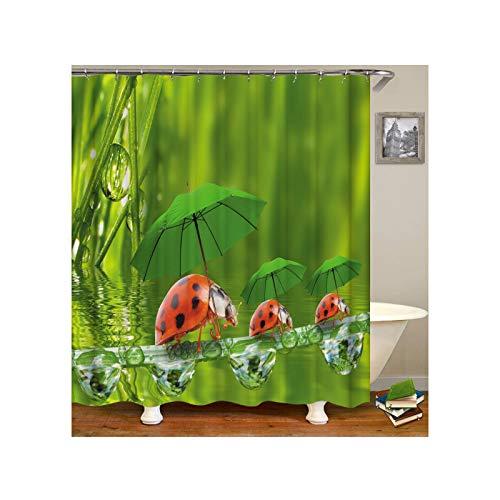 ANAZOZ Duschvorhang Wasserdicht, Anti Schimmel, Umweltfreundlich Waschbar mit 12 Duschvorhangringen Polyester Regenschirm Bad Vorhang für Badezimmer Badewanne 150X200CM A9106