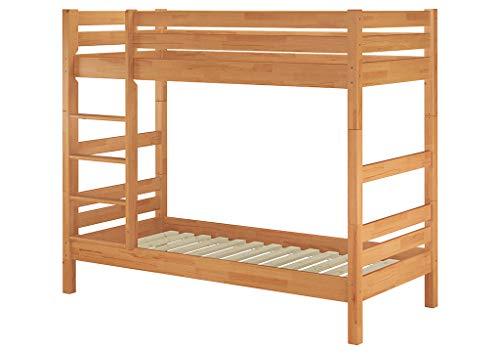 Erst-Holz® Etagenbett Stockbett Buche natur massiv 90×200 Hochbett mit 2 Rollroste 60.17-09
