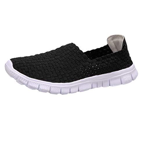 YEARNLY Paar Modelle Handgewebte Schuhe Atmungsaktiv Casual Schuhe Elastischer Gürtel Faule Schuhe Grau, Schwarz, Tarnung, Mehrfarben 35-44