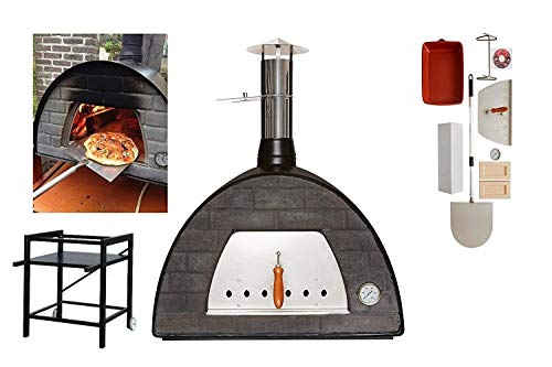 Black Wood-Fired Bread, Meat, Pizza Fish Outdoor Oven WITH STAND REAL WOOD REAL FLAVOR Escape The Indoors �