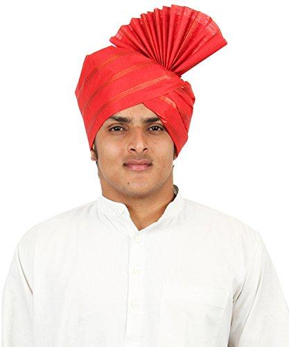 eKolhapuri Traditional Cotton Roto Jari Red Pheta (Turban / Safa / Pagdi)...