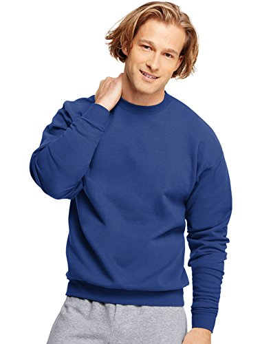 Adult Crewneck Fleece Sweatshirt (Hanes Adult ComfortBlend Crewneck Rib-Knit Fleece Sweatshirt, Deep Royal, Large)