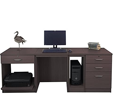 Home Office Furniture UK Computer Table Desk with Shelf HUTCH Bookcase Set, Wood, Walnut, wood Grain Profile, 4-Piece
