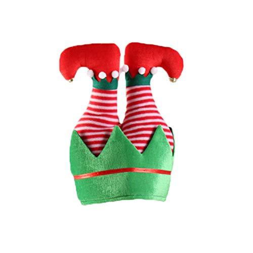 BESTOYARD Weihnachtsmütze Elf Hosen Xmas Party Kostüm Weihnachten Foto Requisiten (Gestreift)