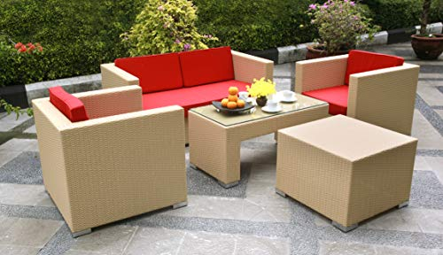 Outdoor Garden Furniture, Benetton Rattan Sofa Set comprising 1 Coffee Table, 1 Love Seat, 2 Arm Chairs and 1 End Table