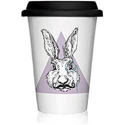 We Love Home - Taza de porcelana con tapa de silicona negra Take Away 40 cl. estilo nórdico modelo Hipster Rabbit