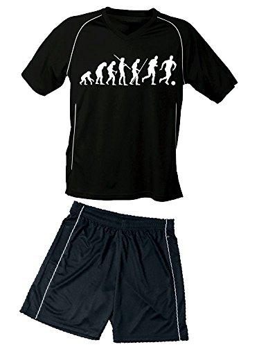 Trikotset Fussball Evolution Kinder Trikot + Hose schwarz-schwarz, 146-152