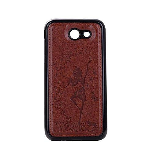 Abnehmbare 2 in 1 Crazy Horse Texture PU Ledertasche, Fairy Girl Embossed Pattern Flip Stand Case Tasche mit Lanyard & Card Cash Slots für Samsung Galaxy J320 ( Color : Rosegold ) Brown