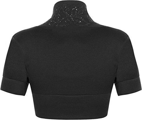 WearAll - Manches courtes cardigan - Hauts - Femme - Tailles 36-42 Noir
