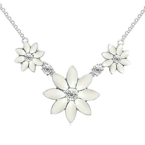 AMDXD Bijoux Plaqué Or Femme Collier Pendentif Blanc Faux Diamant 3 Une Fleurs CZ,Comme Meilleur Cadeau Pour