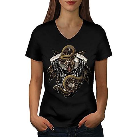 Ford Mustang Engine Women M V-Neck T-shirt   Wellcoda