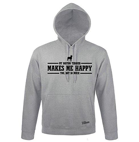 Boston Terrier Kapuzen Sweatshirt (Siviwonder Unisex Kapuzen Sweatshirt BOSTON TERRIER makes me happy by Wilsigns heather grey - schwarz 3XL)