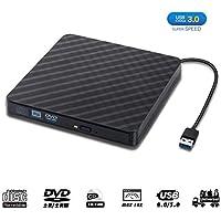 Unidad CD/DVD Externa, iAmotus Grabadora USB 3.0 CD DVD +/-RW ROM Drive Player Lector de DVD Portátil Ultra Slim Optico Externa Reproductor Compatible con Windows Vista/XP/7/8/10/Linux/Mac OS-Negro
