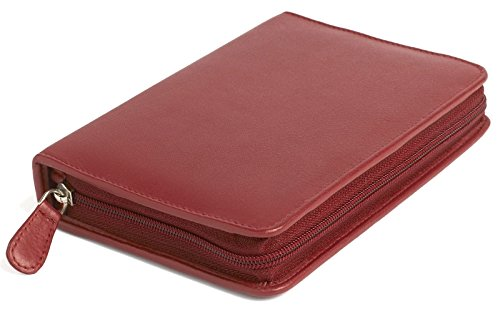 Taschenapotheke leer für 60 Gläser feines Rindnappa-Leder rot