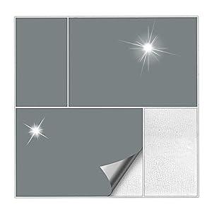 Kiwistar Fliesenaufkleber Grau 71 Glänzend - 20 x 40 cm - 25 Stück - Für Bad, Küche etc