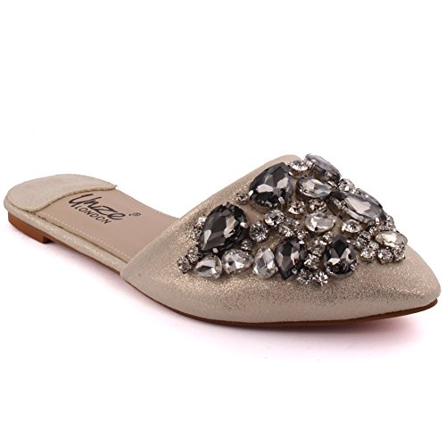 Unze Neue Damen Damen 'Roaser' Kristall Diamante geschmückt Peep-Toe niedrigen Ferse Abend, Hochzeit, Prom & Party Pumpe flach Schuhe Größe 3-8 - 7652-2 Gold