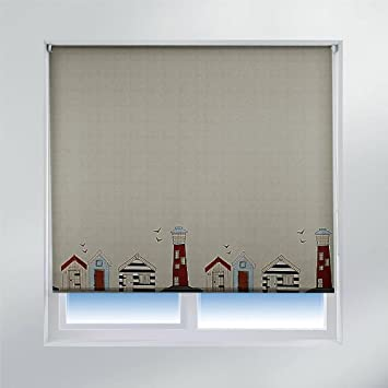 Bathroom Blinds. Sunlover Accents Patterned Blinds  Beach Hut W60cm Amazon co uk