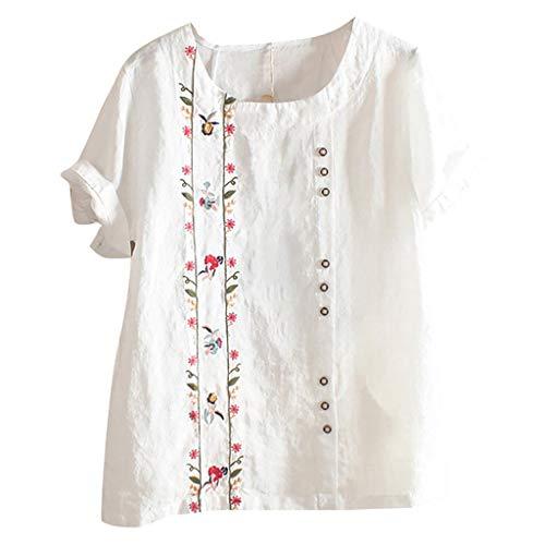 Lazzboy Women Bohemian Floral Embroidered Shirt Short Sleeves Top Blouse Damen Sommer Große Größen,Frauen Plus Size Solide Print Lose Tägliche Bluse Strand Tops Kurzarm(Weiß,L)