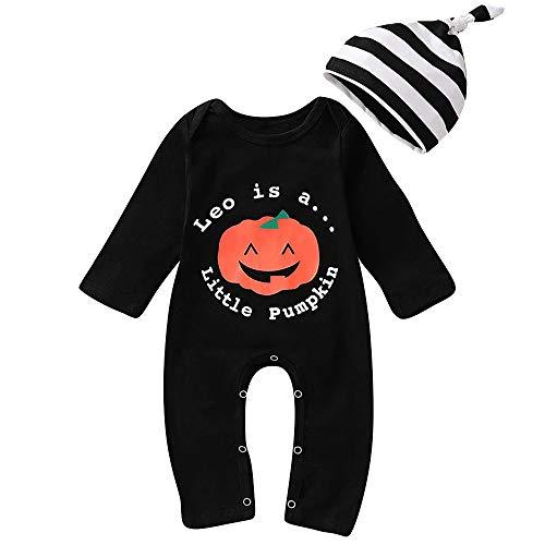 Shopaholic0709 Neugeborene Kleidung, Baby-Junge-Mädchen Langarm-Halloween-Karikatur-Kürbis-Buchstabe-Druck-Einteiliger Overall (3M-24M)