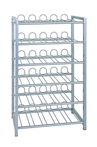 HAKU Möbel Flaschenständer - Weinregal in Aluminiumoptik, Höhe 90 cm