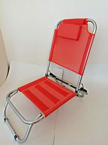 Bars easyshop spiaggina arancione a 3 posizioni in alluminio e textilene con cuscino, 4 cinghie elastiche e sacca per il trasporto