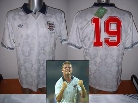 England 1990 Paul Gascoigne Gazza Retro Shirt Jersey BNWT Adult Large Football Cotton Trikot Lazio Newcastle Rangers World Cup Italy Italia Tottenham Hotspur