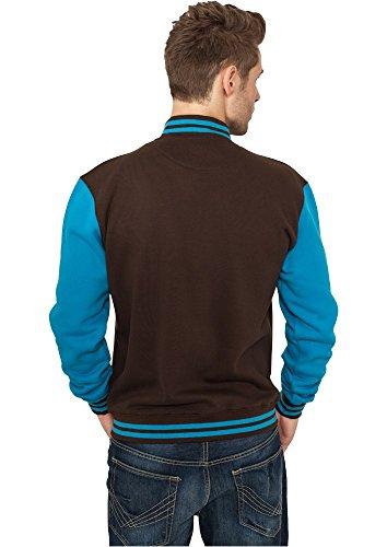 Urban Classics TB207 Herren Jacke Bekleidung 2 Tone College Sweatjacket Brown/Turquoise