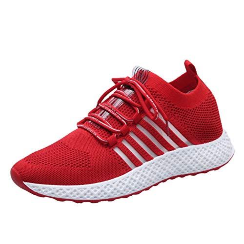 CUTUDE Herren Sneaker Laufschuhe Schnürer Leichte Stoßfest Mode Mesh Freizeit Sportschuhe Outdoor Sports - Viele Farben 39 EU-44 EU (Rot, 40 EU)