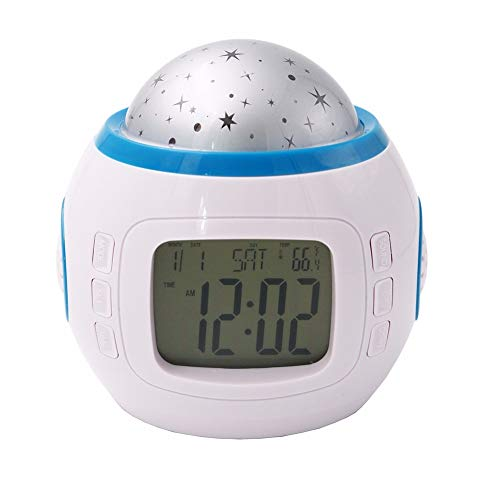 Reloj despertador digital con repetición luminosa, proyector Starry Star de música,...