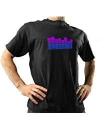 Thumbs Up Unisex Adults T Qualizer II 3D Version Graphic Equalizer Flashing T Shirt Black