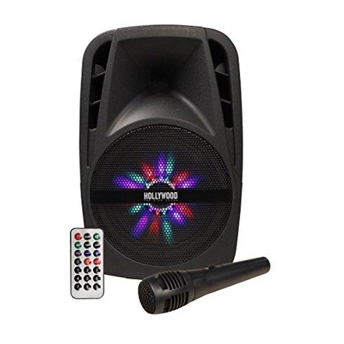 "Mobile Soundanlage 300W Beschallungsanlage Hollywood + LED-Beleuchtung + Kabelmikrofon + Teleskopgriff | Lautsprecher aktiv 43cm Höhe | 8\"" Woofer USB/SD Bluetooth | Soundsystem inkl. Fernbedienung"