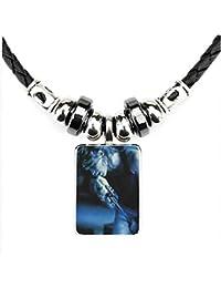 VAWAA Jon Bon Jovi Zelle Schmuck Perle Glas Anhänger Cabochon Vintage Schwarzes Leder Halskette Für Mädchen