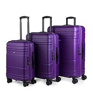 JASLEN – Juego de Maletas de Viaje Rígidas 4 Ruedas Trolley ABS. Resistentes Duraderas y Ligeras. Candado TSA. Pequeña Cabina Mediana y Grande XL 73100, Color Azul