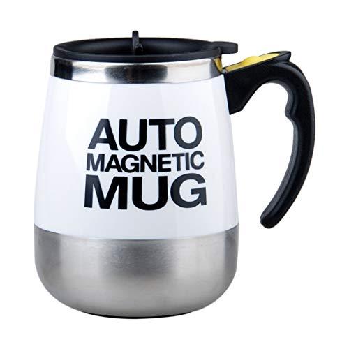 e Kaffeetasse Magnetische selbstrührende Kaffeetasse Tasse aus elektrischem Edelstahl Selbstmischende Tasse und Tasse für Kaffee unterwegs Morgenbüro 380ml (Weiß) ()
