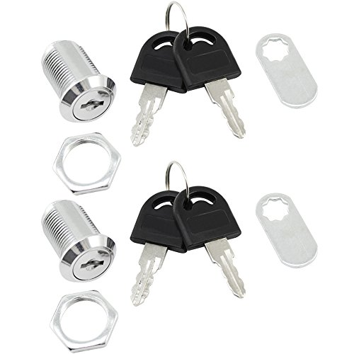 COM-FOUR® 2x Briefkastenschloss Möbel Schloss Briefkastenschlösser, 25 mm (02 Stück 25 mm gerader Bügel)