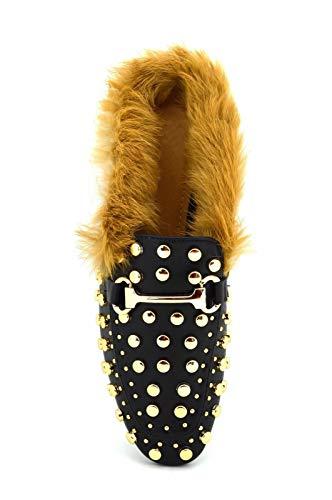 Scarpe donna borchiate mocassino ciabattina alla moda con eco pelliccia sabot con borchie ciabatte con pelo (38 eu, nero)