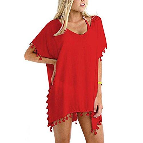 Holeider Frauen-Badeanzug-Badebekleidungs-Strandkleid-Bikini-Chiffon- vertuschen lose Strand-Mode 2018 (Rot) (Gottex Vertuschen)