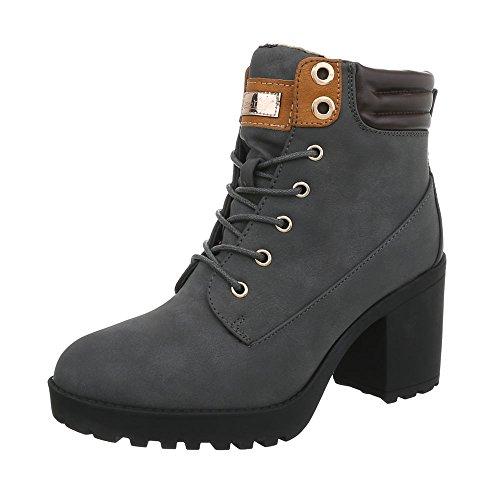 Ital-Design Schnürstiefeletten Damen-Schuhe Blockabsatz Schnürer Schnürsenkel Stiefeletten Grau, Gr 38, B9878-Kb-