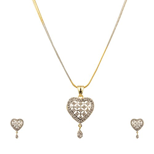 Zeneme Heart Shaped Pendant Set with Chain and Earrings for Girls and Women