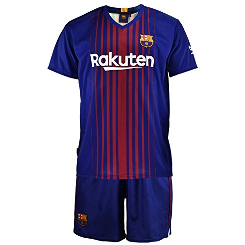 Conjunto - Kit 1ª Equipación Replica Oficial FC BARCELONA 2017-2018 Dorsal MESSI - Tallaje NIÑO (8 AÑOS)