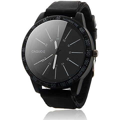 Tongshi Hombres de acero inoxidable Moda Sport Luxury analógico de pulsera de cuarzo (negro)