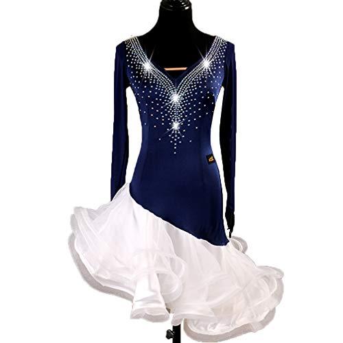 Frauen Lateinisches Tanz-Kleid Performance Kostüm V-Ausschnitt Lange Ärmel Wettbewerb Tanzabnutzung Rumba-Rock, ()