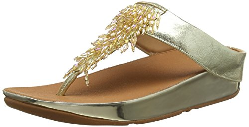Sommer Thong Sandal (Fitflop Damen Zehentrenner,  Rumba Toe-thong Sandals, Gold (Metallic Gold 537), 42EU)