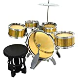 Jazz Drum Set With Chair - Music Toy Instrument For Kids - 10 Pc Multi Color (Gold)