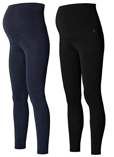 2 Set Damen Umstandsmode Leggings Umstandsleggings lange Umstands- Leggings Strümpfe & Strumpfhosen/Leggins (S (34-36), marine & schwarz)